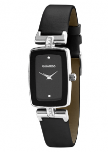 Дамски часовник с черна кожена каишка Guardo